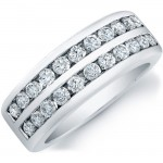 14k White Gold Two Row Channel Diamond Men's Band