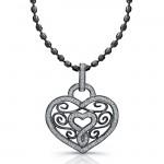 Black Sterling Silver Diamond Swirl Heart Pendant