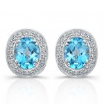 Sterling Silver Diamond Blue Topaz Earrings