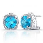 Sterling Silver Blue Topaz Diamond Halo Earrings