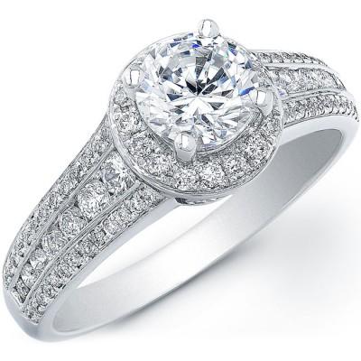 14k White Gold Diamond Semi Mount Halo Engagement Ring