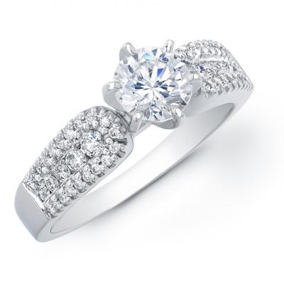 14k White Gold Six Prong Diamond Semi Mount