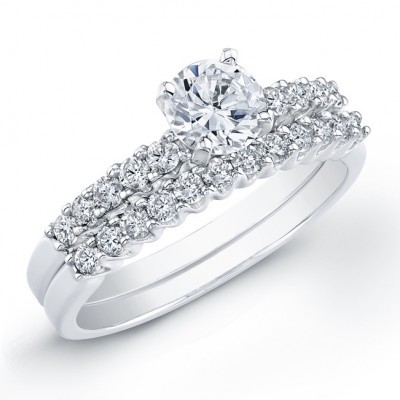 18k White Gold Diamond Prong Bridal Set
