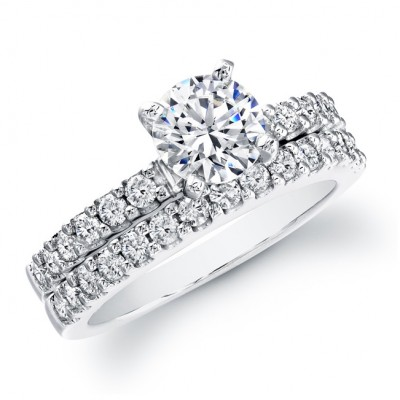 14k White Gold Classic Prong Bridal Set