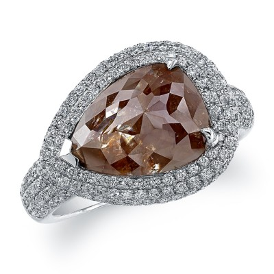 18k White Gold Pear Shaped Brown Diamond Ring