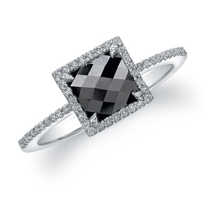 14k White Gold Rose Cut Black Diamond Ring