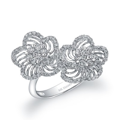 14k White Gold Diamond Wire Double Flower Ring