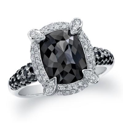 18k White Gold Rose Cut Black Diamond Pave Ring