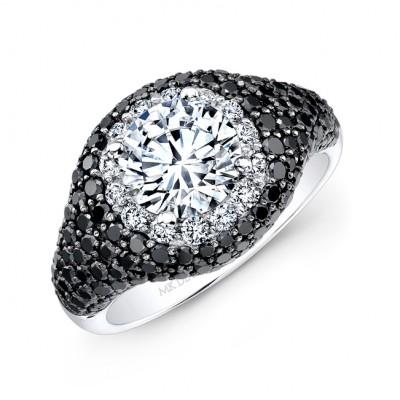 14k White Gold Thick Black Diamond Band with a White Diamond Halo