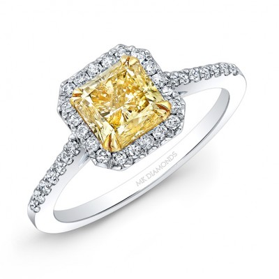 14k White and Yellow Gold White Diamond Square Halo Ring