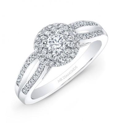 14k White Gold Double Diamond Halo Split Shank Engagement Ring