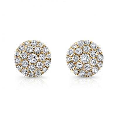 14k Yellow Gold White Diamond Stud Earrings