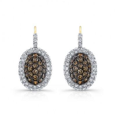 14k Yellow and Black Gold Brown Diamond Oval Halo Earrings