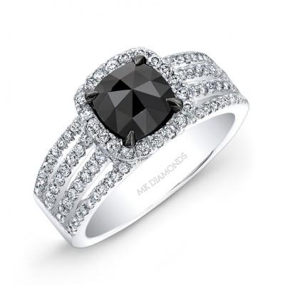 14k White Gold Rose Cut Black Diamond Center Engagement Ring Bridal Set
