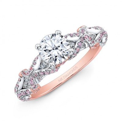 18K Rose and White Gold Pink and White Diamond Engagement Ring
