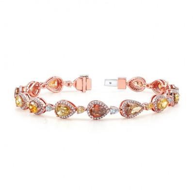 18k Rose Gold Fancy Color Diamond Bracelet