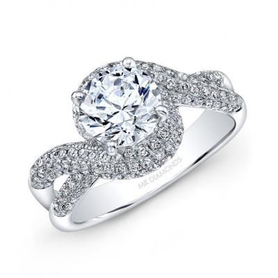 14k White Gold White Diamond Spiral Halo Engagement Ring