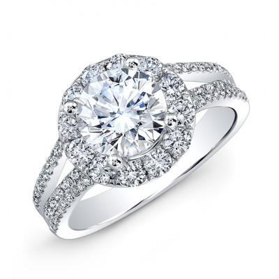14k White Gold White Diamond Split Shank Engagement Ring