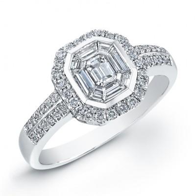 14k White Gold Split-Shank Emerald Star Diamond Mosaic Ring