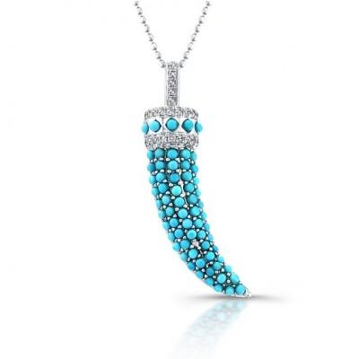 14k White Gold Diamond Pave Turquoise Horn Pendant