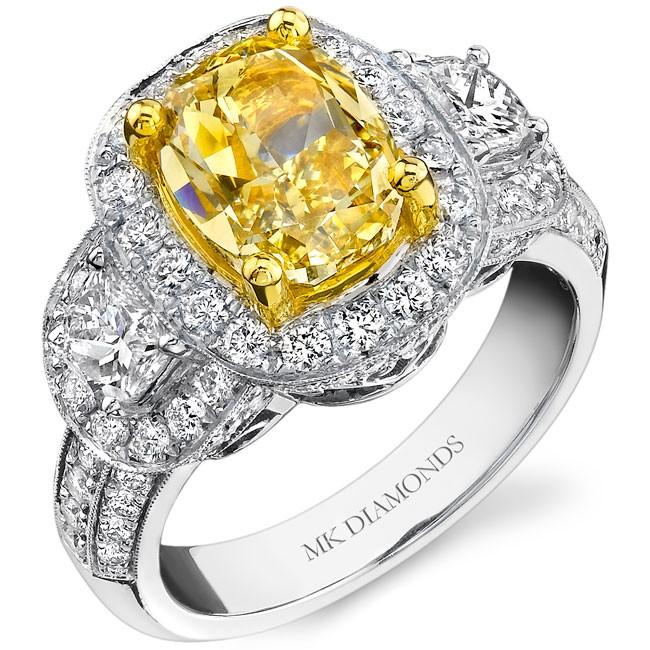 18k White and Yellow Gold Half Moon Cushion Diamond Ring