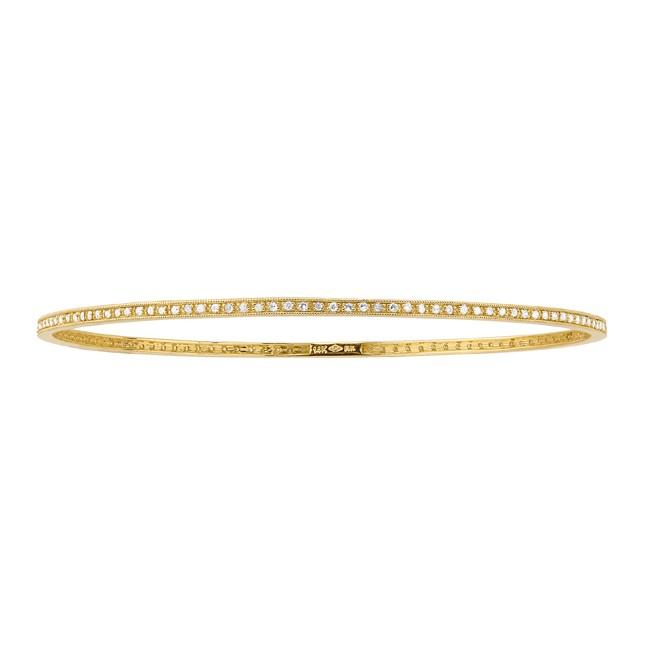 14k Yellow Gold Stackable Pave Diamond Bangle