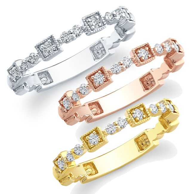 14k White, Yellow and Rose Gold Stackable Diamond Band Set