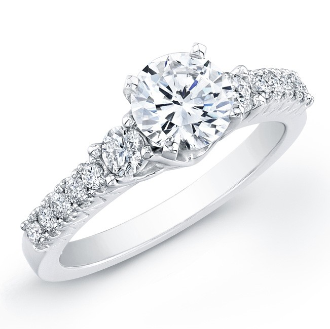 14k White Gold Diamond Beveled Engagement Ring With Side Diamonds
