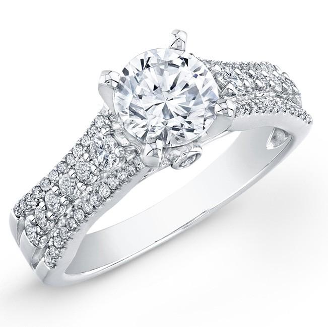 14k White Gold Contemporary Diamond Semi Mount