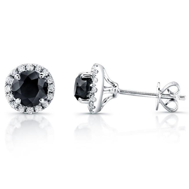 14k White Gold 1 3/4ct twt Black and White Diamond Halo Stud Earrings