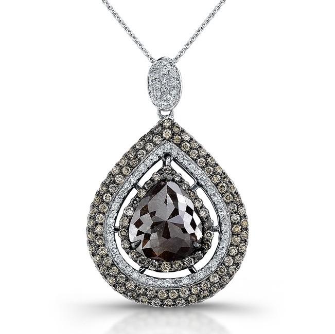 18k White Gold Rose Cut Brown Diamond Halo Pear Shaped Rustic Pendant