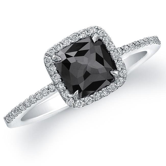 14k White Gold Rose Cut Black Diamond Halo Ring