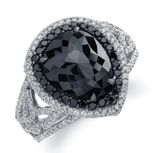 14k White Gold Pear Shaped Black Diamond Ring