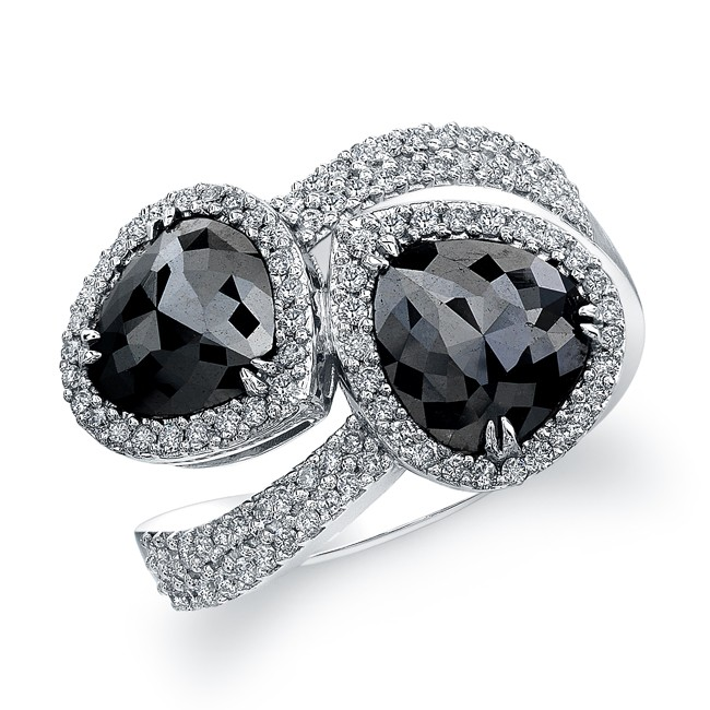 18k White Gold Bypass Black Diamond Ring