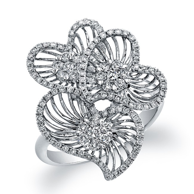 14k White Gold Diamond Wire Triple Heart Ring