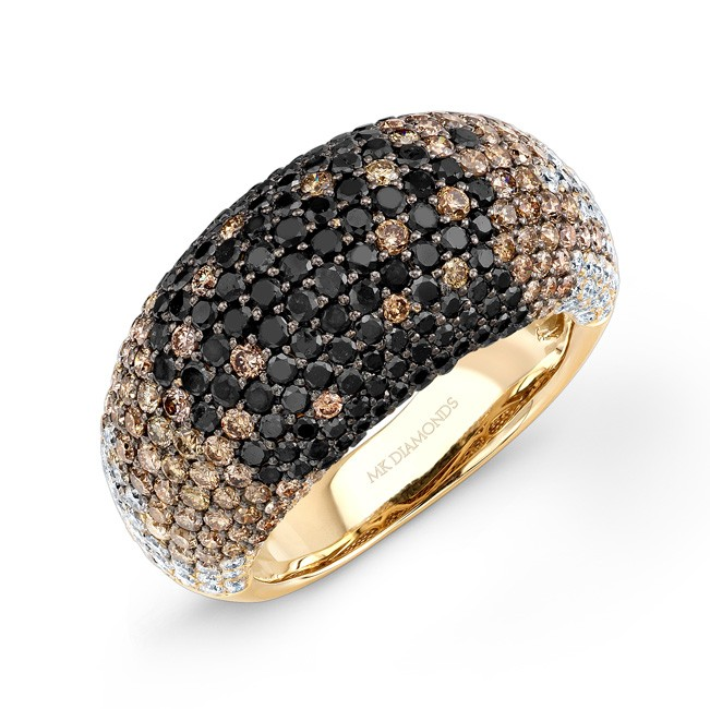 18k Yellow Gold Micro Pave Brown, White and Black Diamond Ring