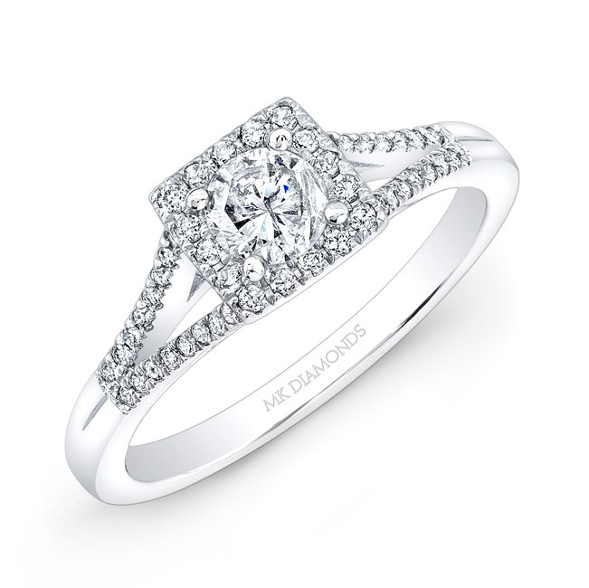 14k White Gold Split Shank Square Halo Diamond Engagment Ring