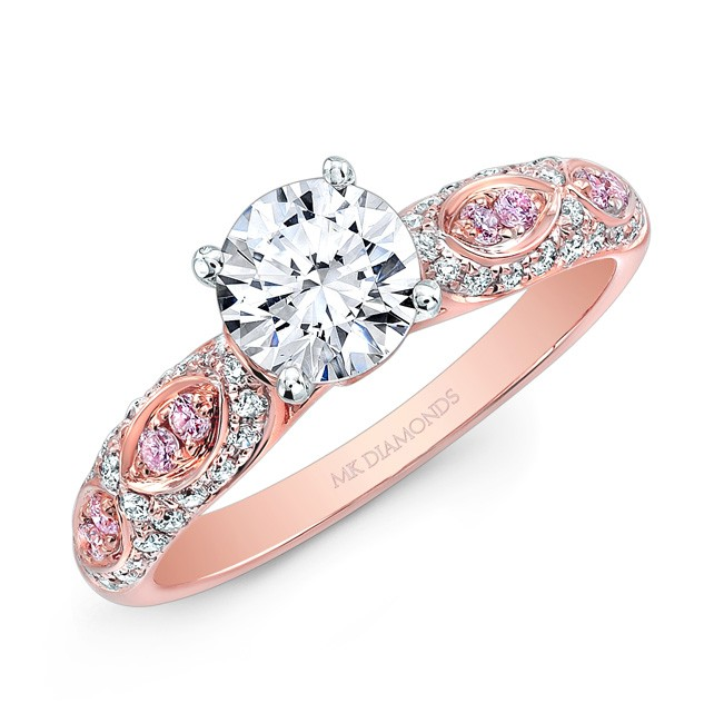 14K Rose and White White and Pink Diamond Engagement Ring