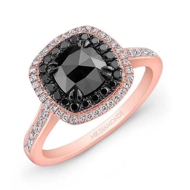 14k Rose Gold Double Halo Rose Cut Black Diamond C