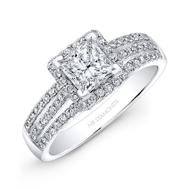 14k White Gold Split Shank Square Halo Engagement Ring