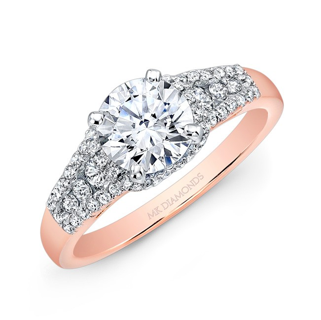 14k Rose Gold Channel Set Diamond Engagement Ring
