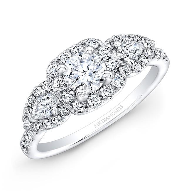 14k White Gold Pear Shaped Side Stone Engagement Ring Semi Mount