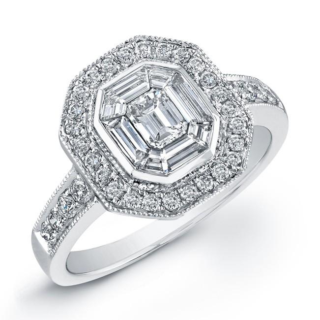 14k White Gold Classic Emerald Star Mosaic Diamond Ring