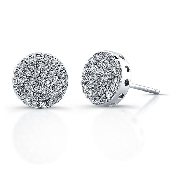 14k White Gold Micro Pave Diamond Circle Earrings