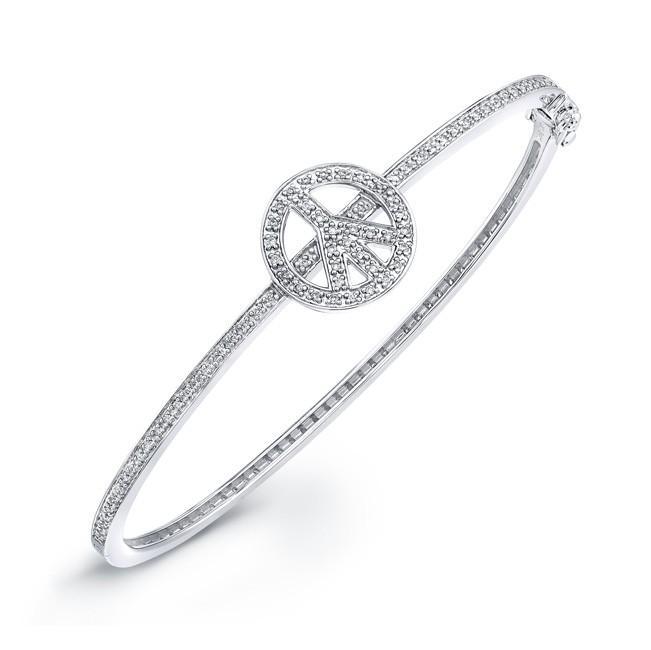 14k White Gold Diamond Peace Bangle
