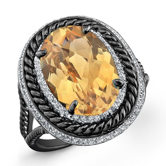 Black and White Sterling Silver Citrine Diamond Split Shank Ring