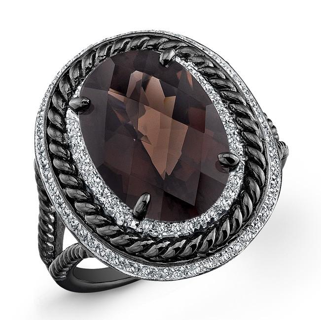 Black and White Sterling Silver Smokey Quartz Diamond Split Shank Ring