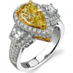 14k White and Yellow Gold Pear Shaped Fancy Yellow Diamond Ring