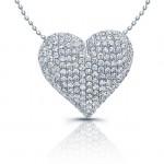 14k White Gold Puffy Diamond Pave Heart Pendant