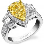 14k White Gold and 18k Yellow Gold Trapezoid and Pear Shaped Fancy Yellow Diamond Ring